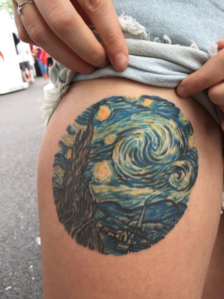 Circular Design Van Gogh Painting Tattoo