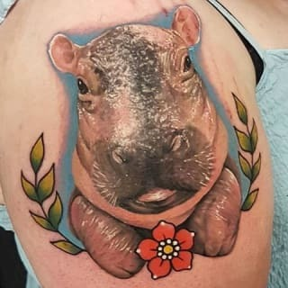 Colorful Hippo Tattoo on shoulder for men