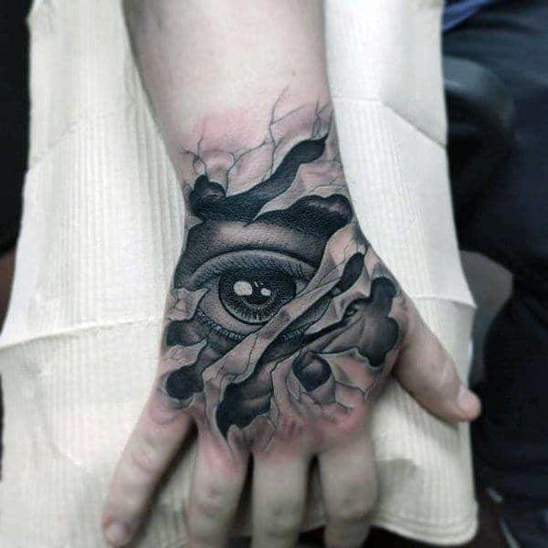 Eye Tattoo on hand for Men