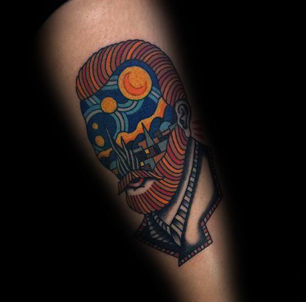 Van Gogh  Tattoo on leg for men