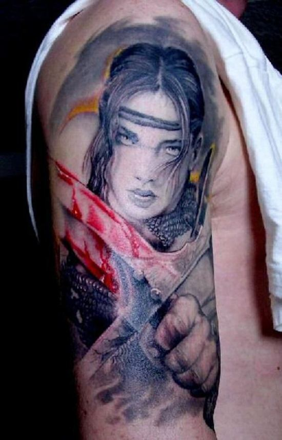 Warrior Blood Tattoo on shoulder for men