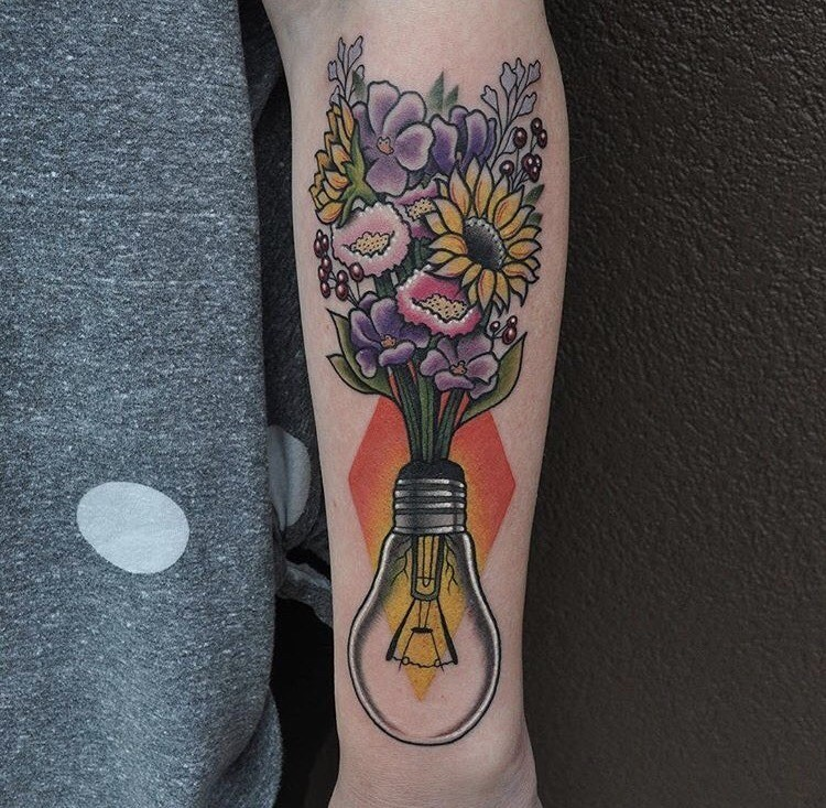 Flowers with Light Bulb Tattoo on arm
