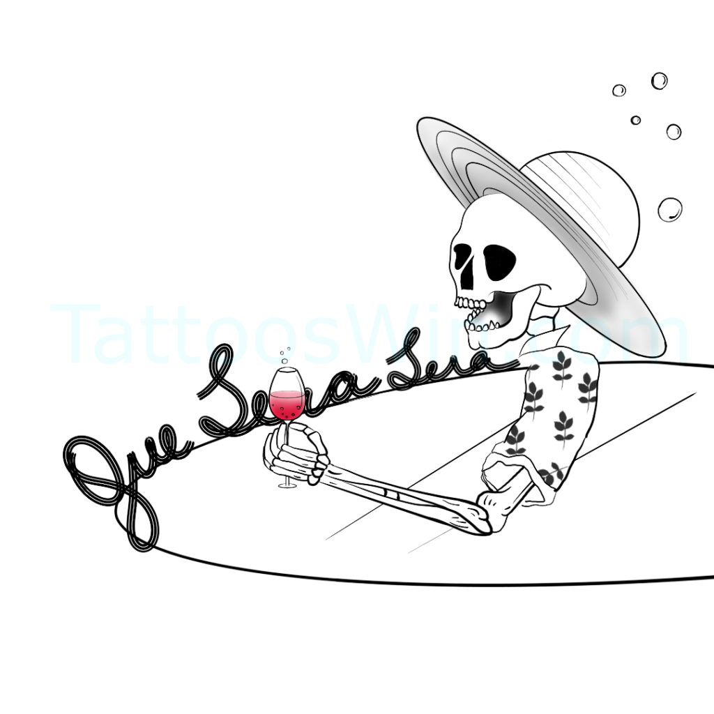 Que Sera Sera Skull Tattoo Design