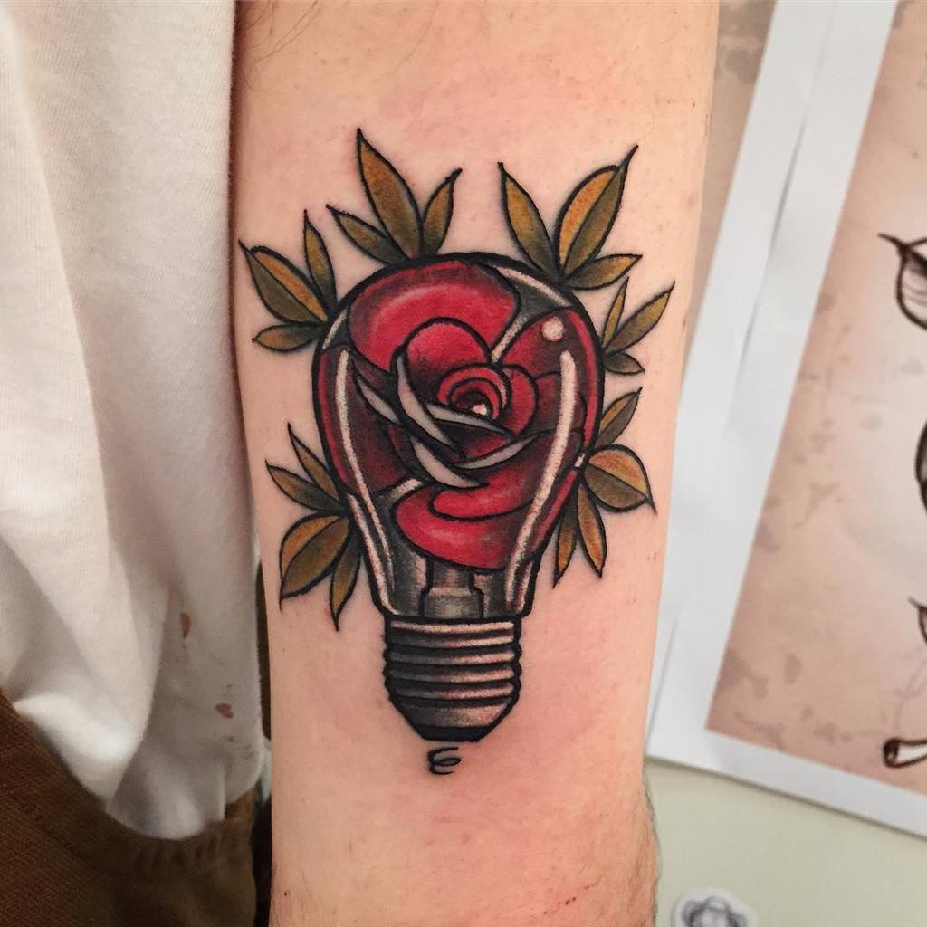 Beautiful Rose with Light Bulb Tattoo for Women
