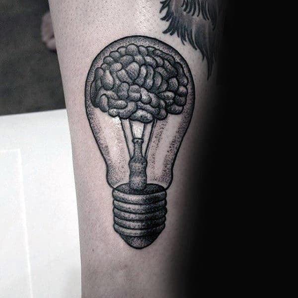 Light Bulb Tattoo with brain for men