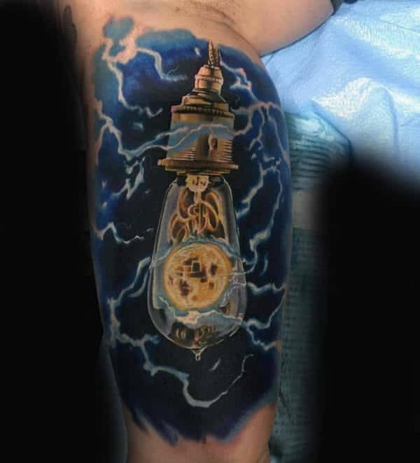 Blue Rays Solar light tattoo for men