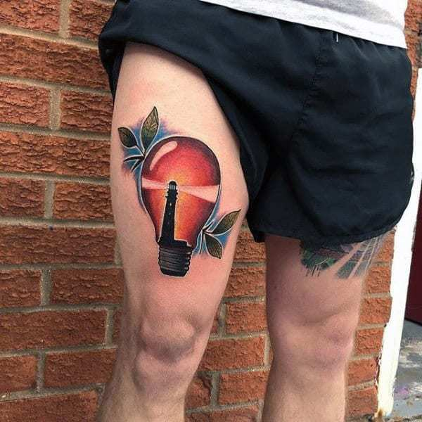 Light House inner Light Bulb Tattoo on leg for men