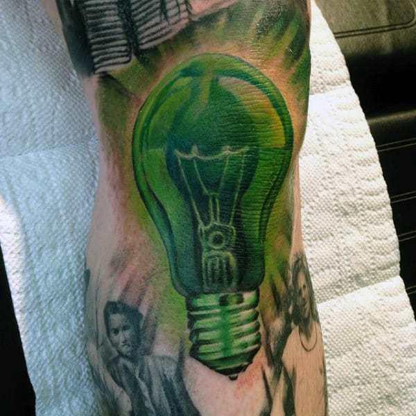 Green Light Bulb Tattoo on arm