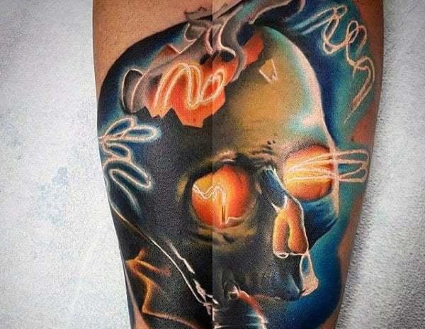 Light Bulb Tattoo with Skull on leg