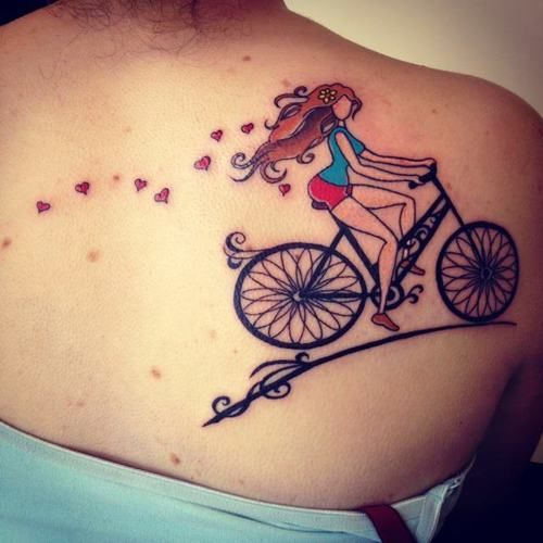 Beautiful Cycle Tattoo for women on sholuder