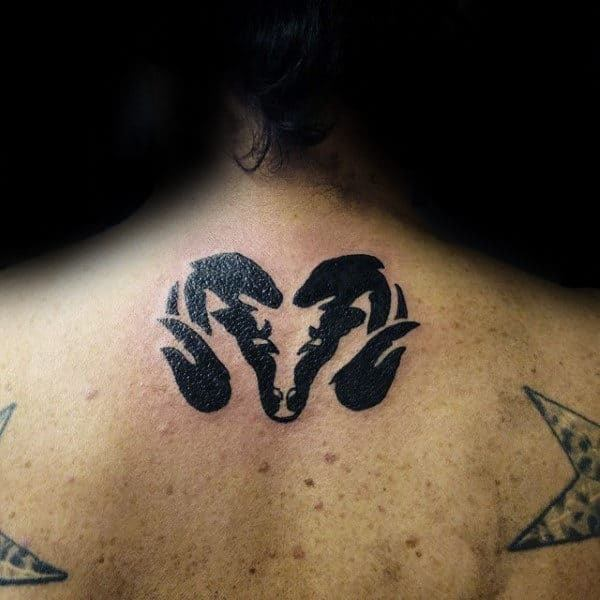 small Ram Tattoo on neck for women