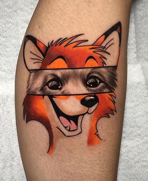 Cute Cartoon Fox Tattoo