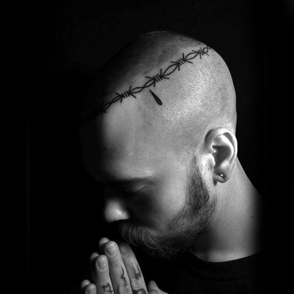 Classy Forehead Tattoo for Men