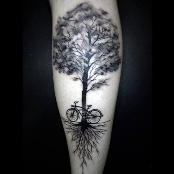 Cycle Tattoo with tree on hand