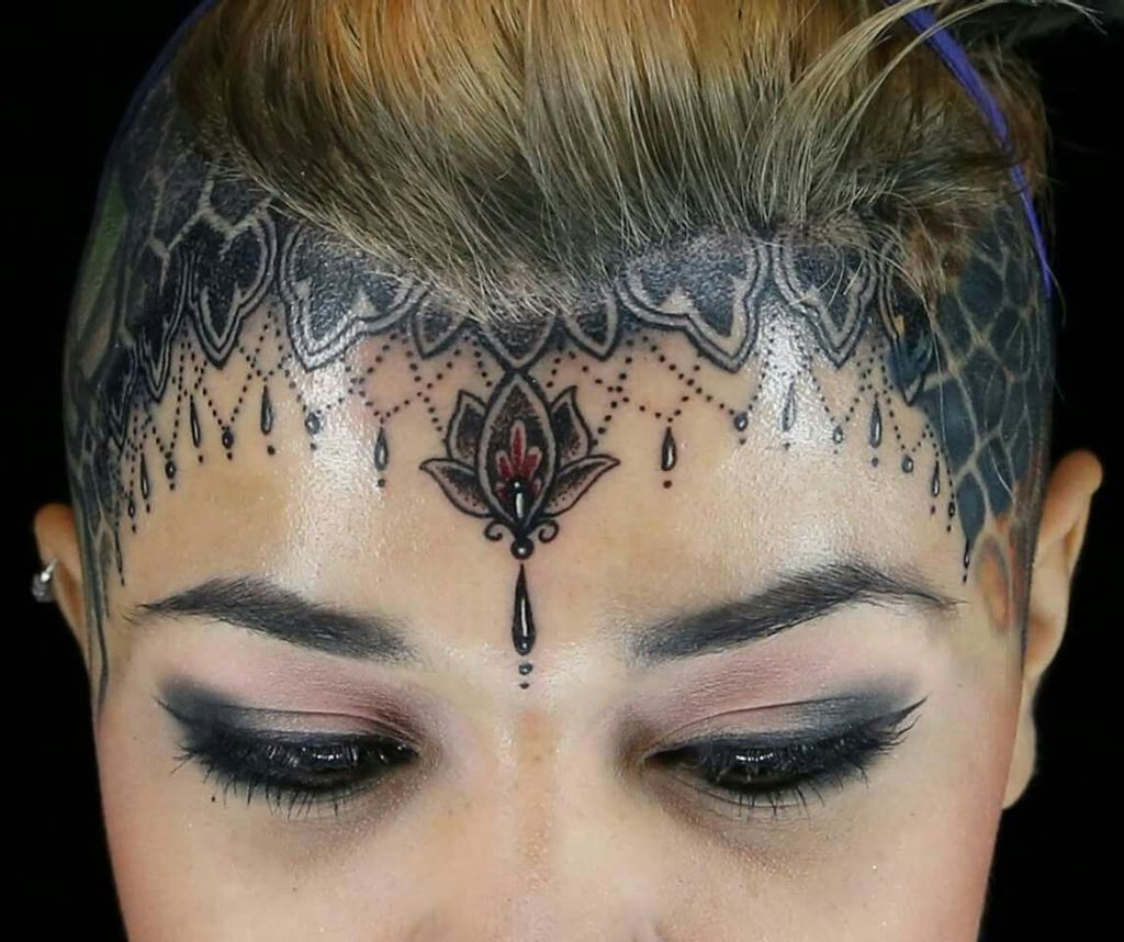 Beautiful Design Tattoo on Forehead