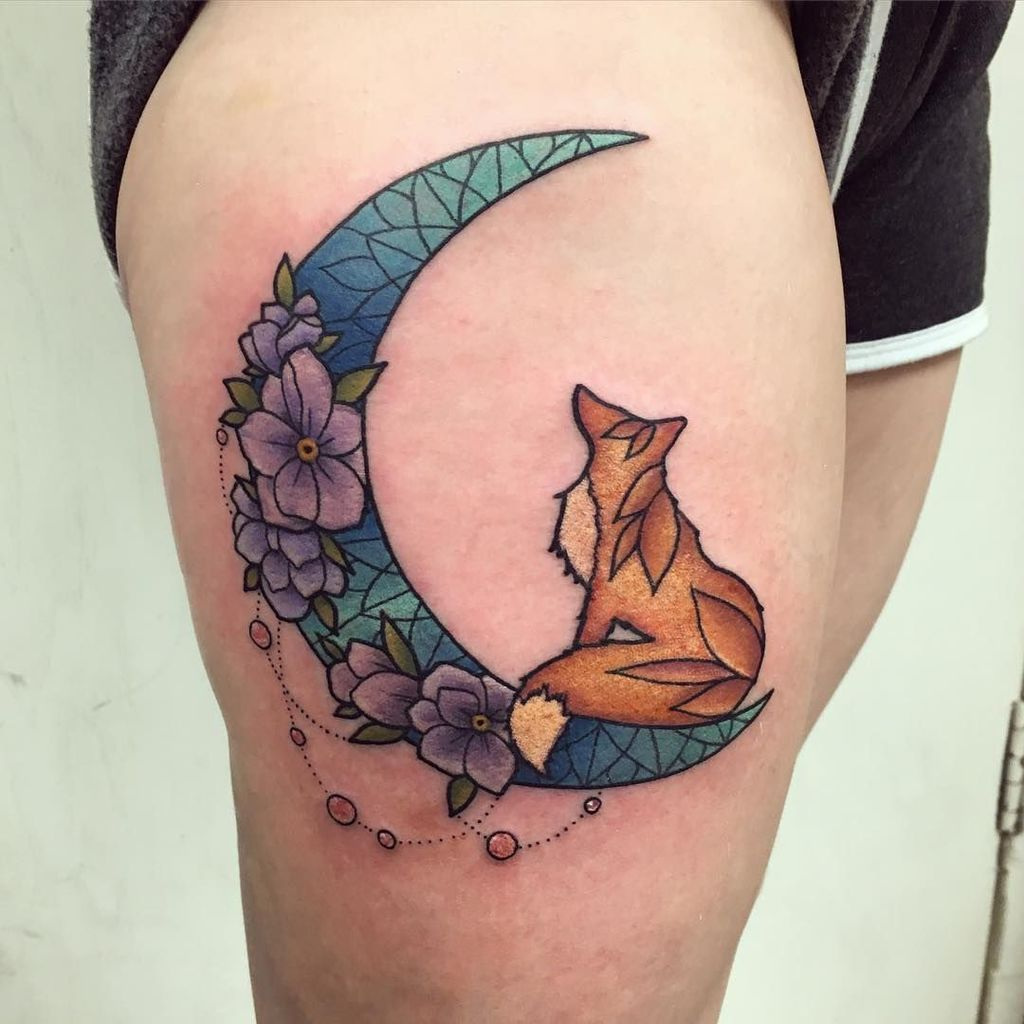 Floral Fox Tattoo on thigh for woman