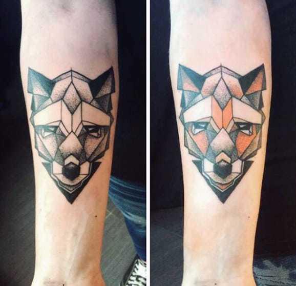 Geometrical Fox Tattoo on hand