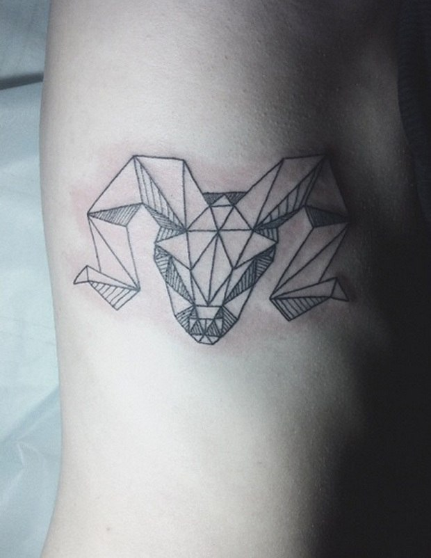 Geometrical Ram Tattoo for men