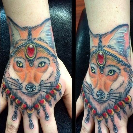 Jeweled Fox Tattoo on hand