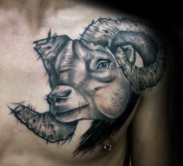 Ram face tattoo for men on chest