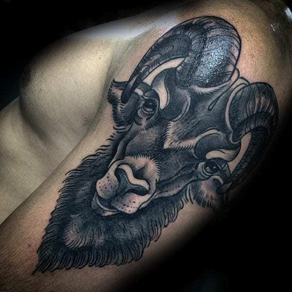 Ram Tattoo for men on shoulder