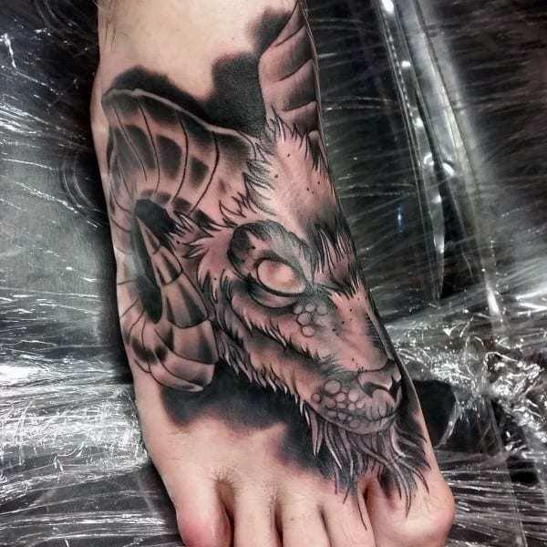 Ram Tattoo on foot for men