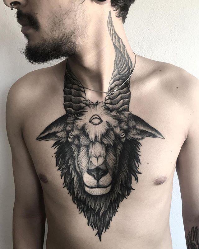 Big Horns Ram Tattoo on chest