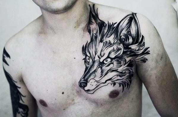 Fox Tattoo for men on chest