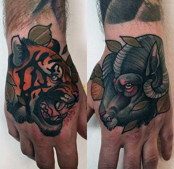 Traditional looking Ram Tattoo design on hand