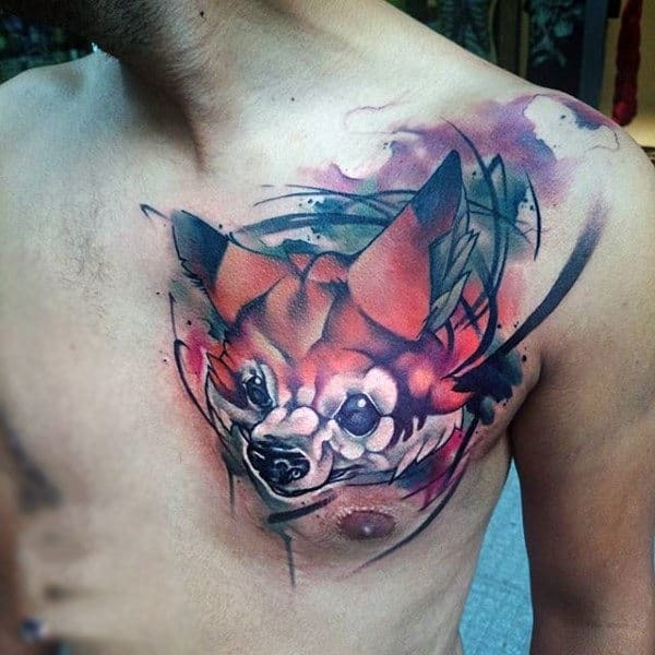 Watercolor  Fox Tattoo for men