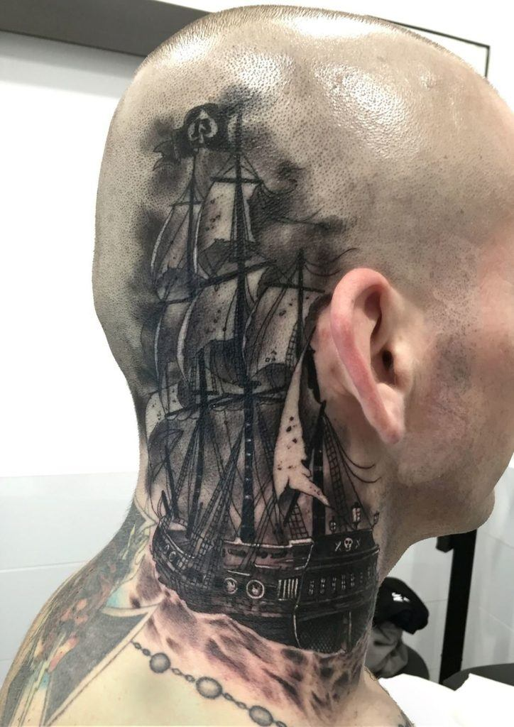 Ship Tattoo on head for men