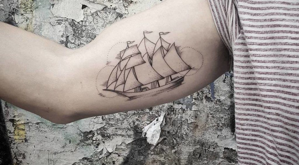 Ship Tattoo on Arm For Men