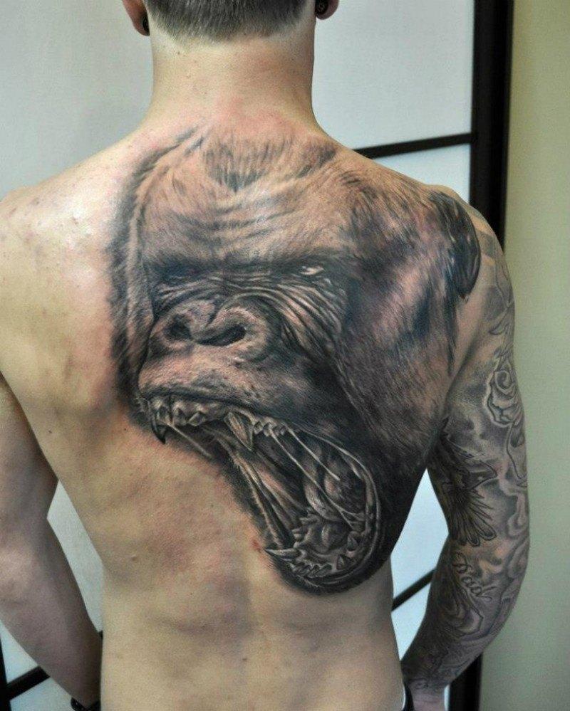 Ape Tattoo for men at back