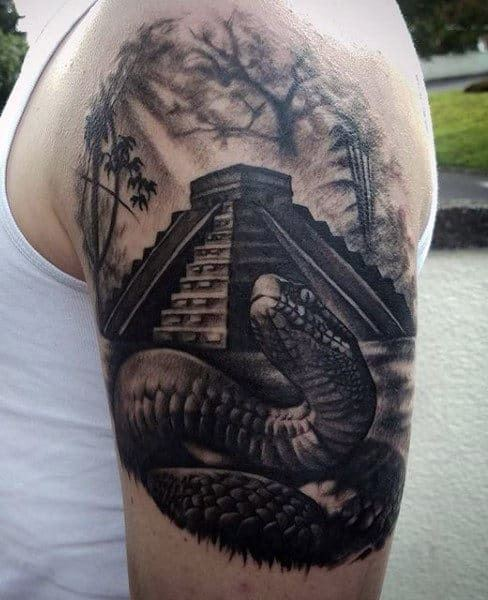 Bold Black Aztec Snake Tattoo