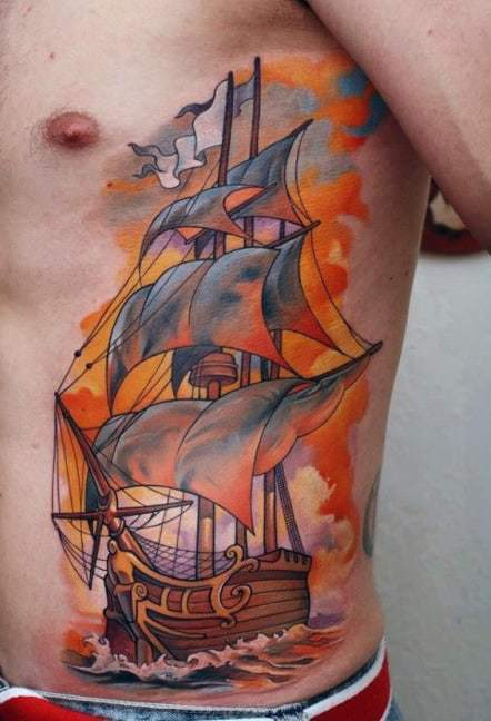 Colorful Ship Tattoo on body