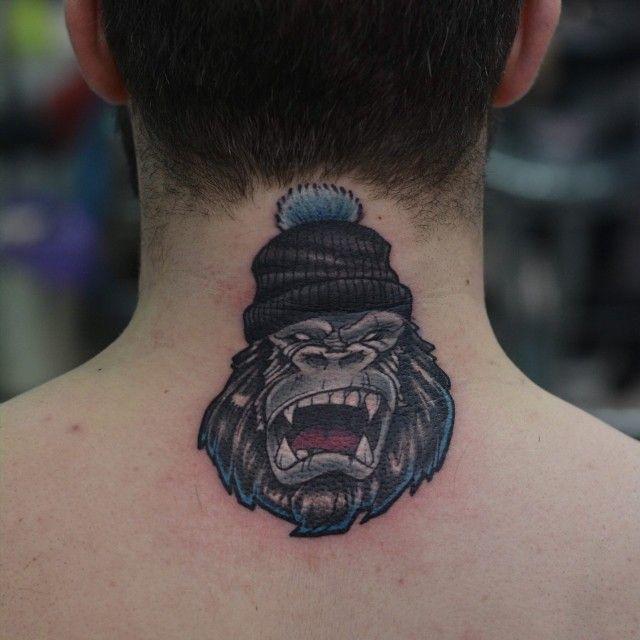 Ape Tattoo on neck for men