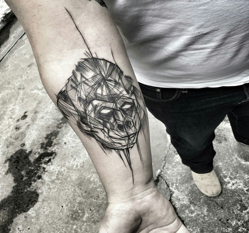 Head Lines of ape tattoo