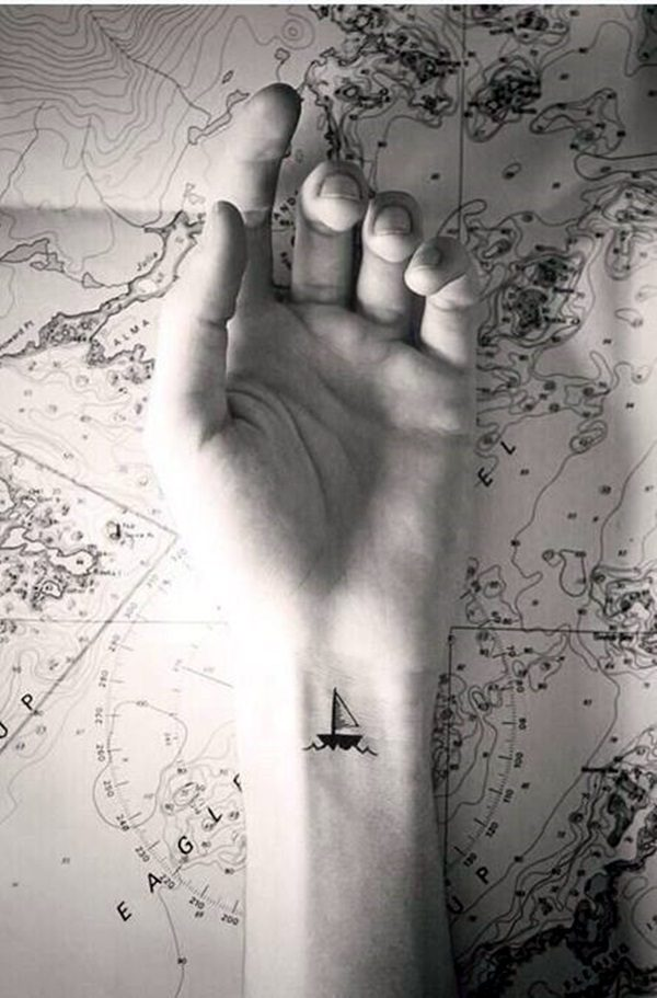 Ship Tattoo on wrist for women