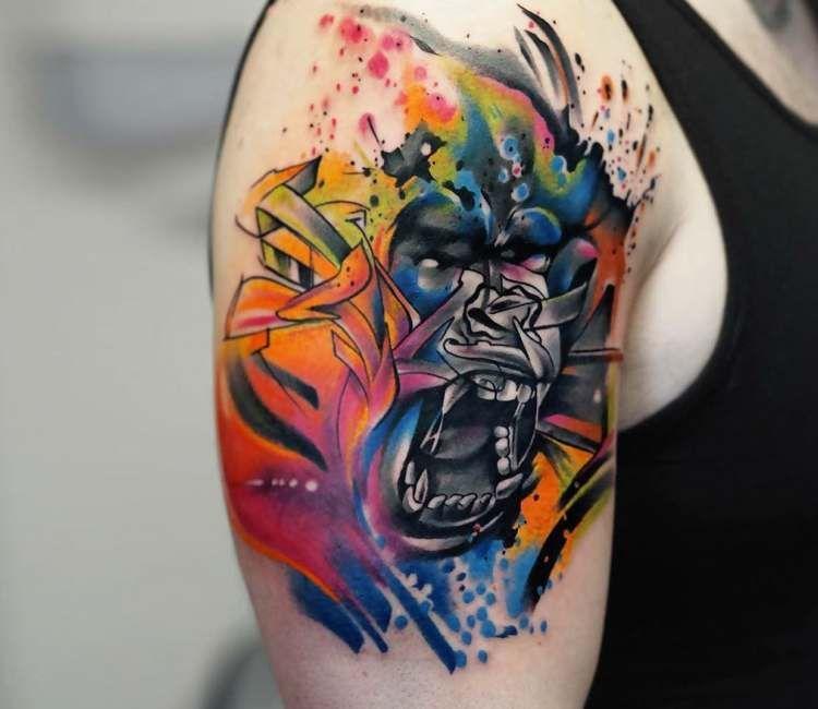 beautiful watercolor gorilla tattoo for men
