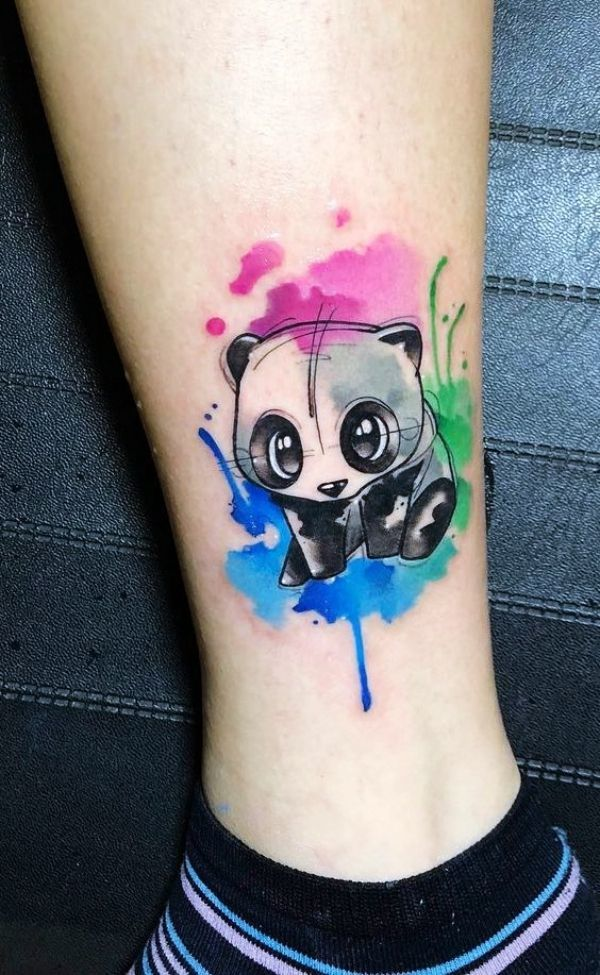 Watercolor panda tattoo on leg