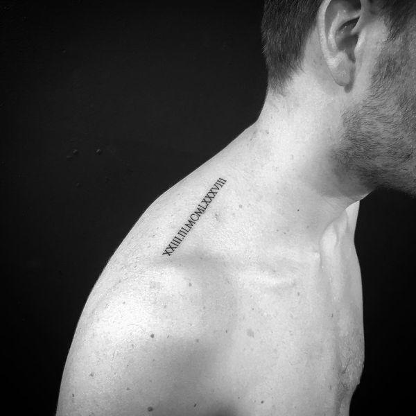 Bold Roman Number Tattoo on shoulder for men