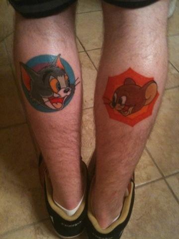 Tom & Jerry Face Tattoo on leg for men