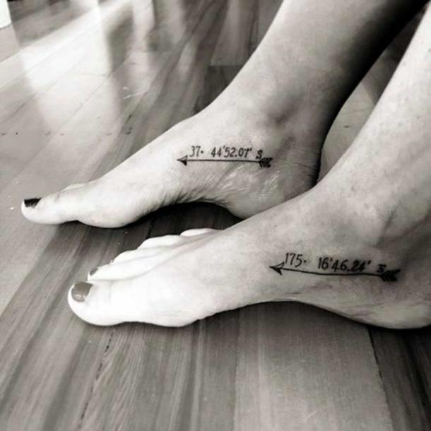 Double Arrow Coordinate Tattoo on leg for women