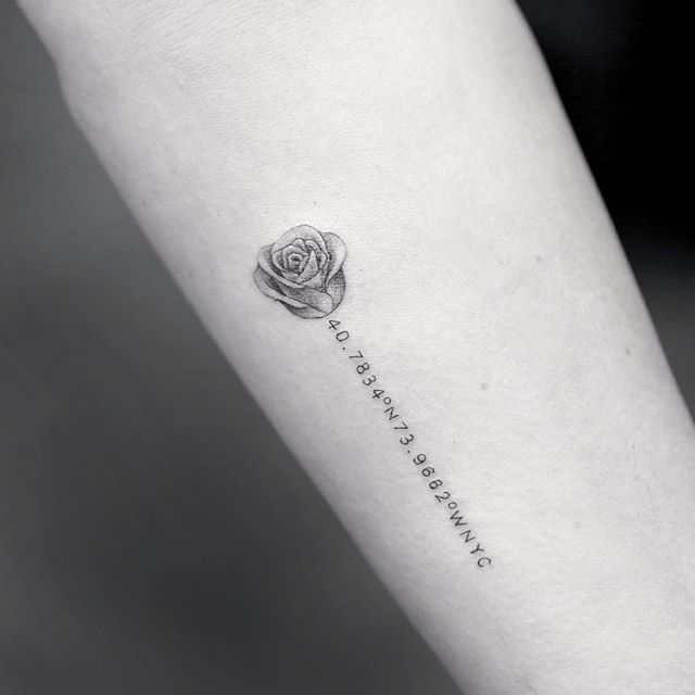 Rose with Coordinate Tattoo for women