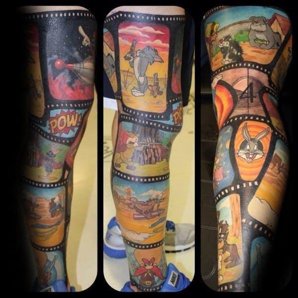 Cartoon Character Tattoo on leg for men
