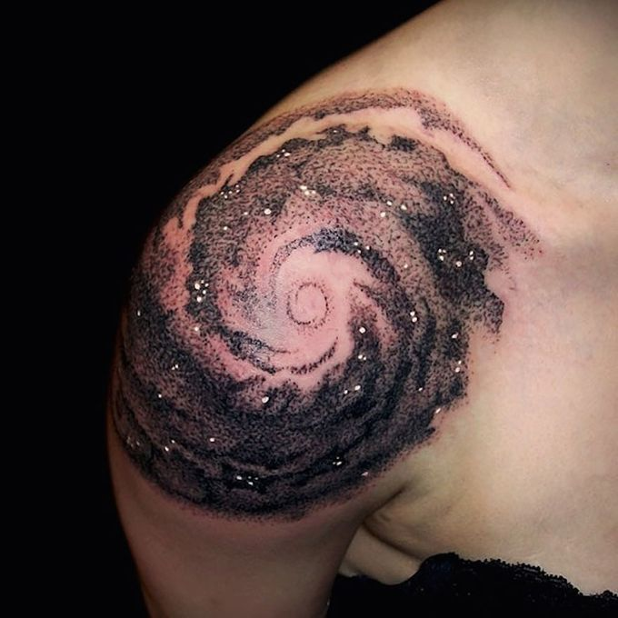 Black Space Theme Tattoo