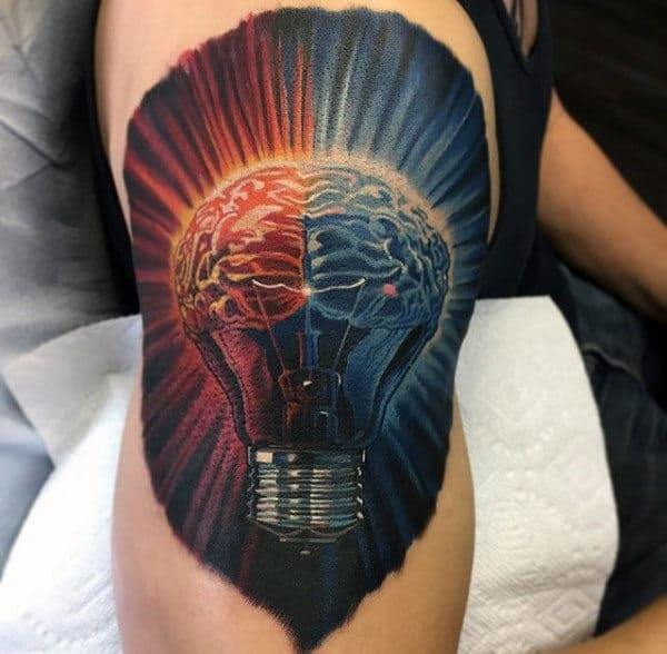 Super cool Brain tattoo on hand for men
