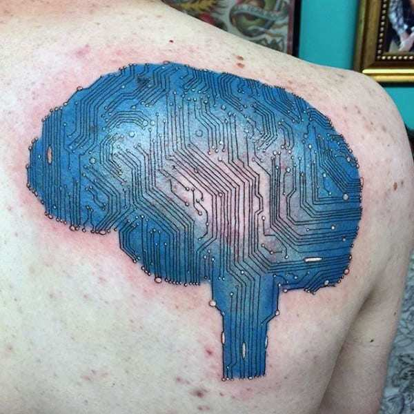 Blue color circuit Brain tattoo