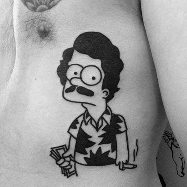 Simple Simpsons Tattoo on chest