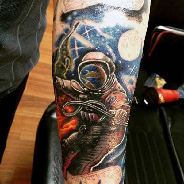 Astronaut Space Theme Tattoo on hand for men